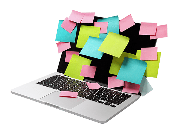 Laptop with a lot of sticky notes